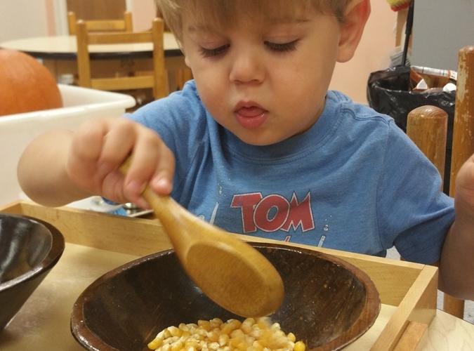 Toddler Fine Motor Skills Blog - Colin spooning